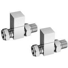 Cube Towel Rail Valves Chrome Plated Straight