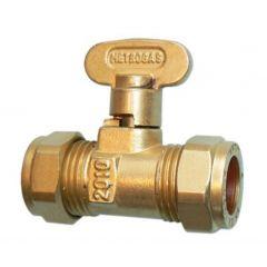 Compression Rigid Fan Gas Cock Brass 15mm