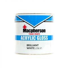 Macpherson Acrylic Gloss Paint 2.5 Litre - Brilliant White