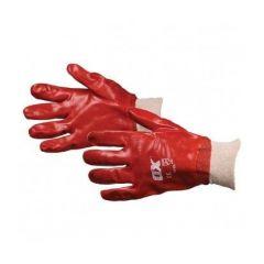 OX Red PVC Knit Wrist Gloves Size 9 (Large)