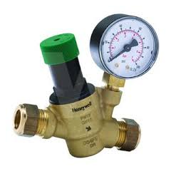 Honeywell Home Pressure Reducing Valve with Gauge 22mm - D04FM-3/4ZGC
