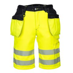 TPPW074P-1-Portwest-Hi-Vis-Shorts- Yellow/Black