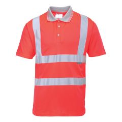TPPW166P-1-Portwest-Hi-Vis-Shirt-Red