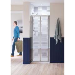 Lakes Classic Semi Framed Bifold Door Silver 900x1850mm - LKVB090S