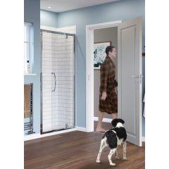 Lakes Classic Semi Framed Pivot Door Silver 800x1850mm - LKVP08S