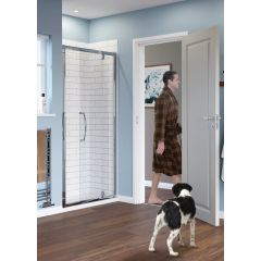 Lakes Classic Semi Framed Pivot Door Silver 900x1850mm - LKVP09S