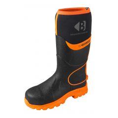 Buckbootz Hi-Viz Non-Metallic Safety Wellington Boots (Black/Orange) - BBZ8000 BK OR