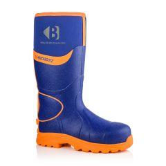 Buckbootz Hi-Vis Safety Wellington Boots (Blue/Orange) BBZ8000 BL OR