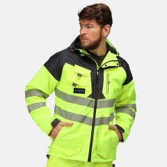 Regatta Men's Hi-Vis Waterproof Parka Jacket – Yellow/Grey (TRA340)