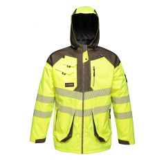 Regatta Men's Hi-Vis Waterproof Parka Jacket – Yellow/Grey (TRA340) front