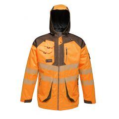 Regatta Men's Hi-Vis Waterproof Parka Jacket – Orange/Grey (TRA340) front