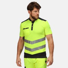Regatta Men's Tactical Hi-Vis Reflective Polo Shirt – Yellow/Grey (TRS176)