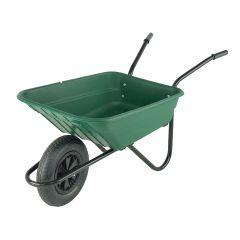 Walsall Polypropylene Wheelbarrow in a Box Pneumatic Tyre Green 90L - BSHGP
