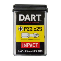 Dart PZ2 25mm Impact Driver Bits (Pack of 25) DDIPZ2-25