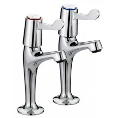 Bristan Lever High Neck Pillar Taps with Ceramic Disc Valves (Pair)